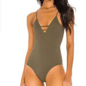 NEW Free People Dance All Day Bodysuit Army Green